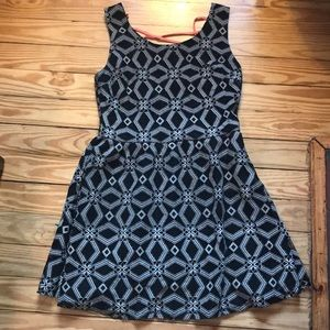 Funky geometric print dress with lace up back